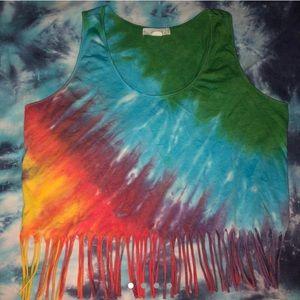 Vintage inspired tie dye fringe crop top